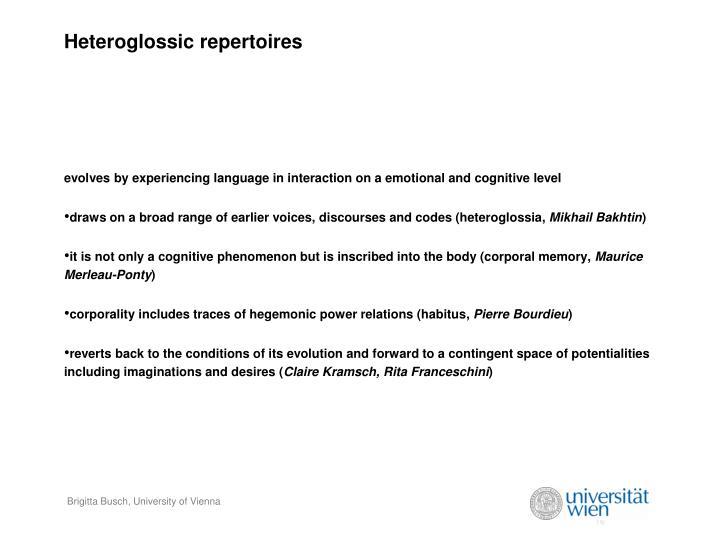 Heteroglossic repertoires
