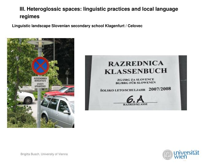 III. Heteroglossic spaces: linguistic practices and local language regimes