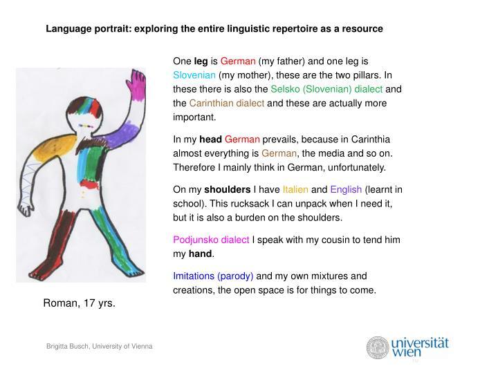 Language portrait: exploring the entire linguistic repertoire