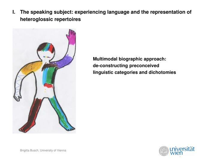 The speaking subject: experiencing language and the representation of heteroglossic repertoires