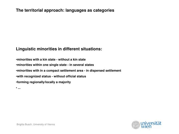 The territorial approach languages as categories