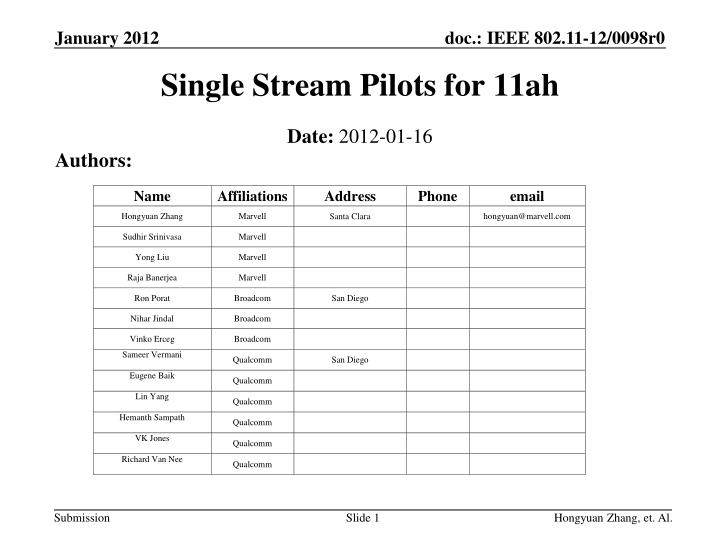 Single stream pilots for 11ah