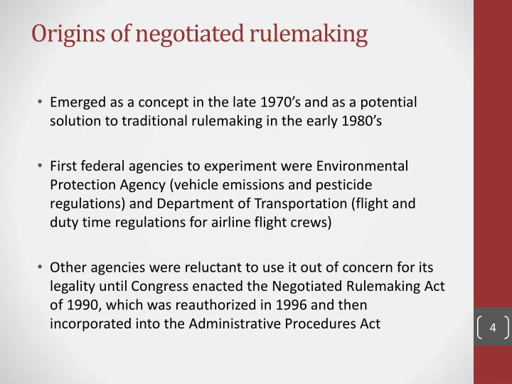 Origins of negotiated rulemaking