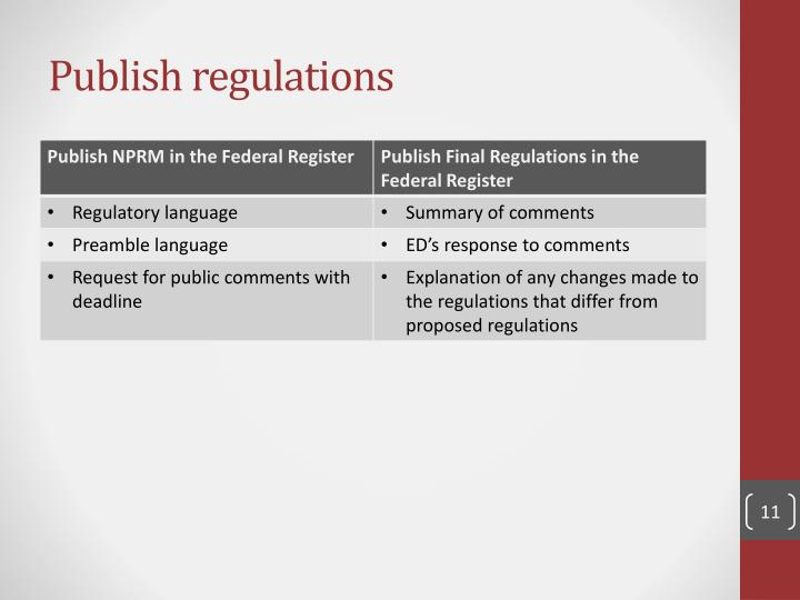 Publish regulations