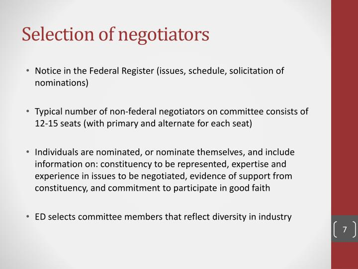 Selection of negotiators