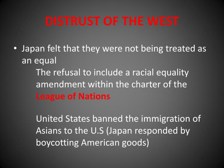 Distrust of the west