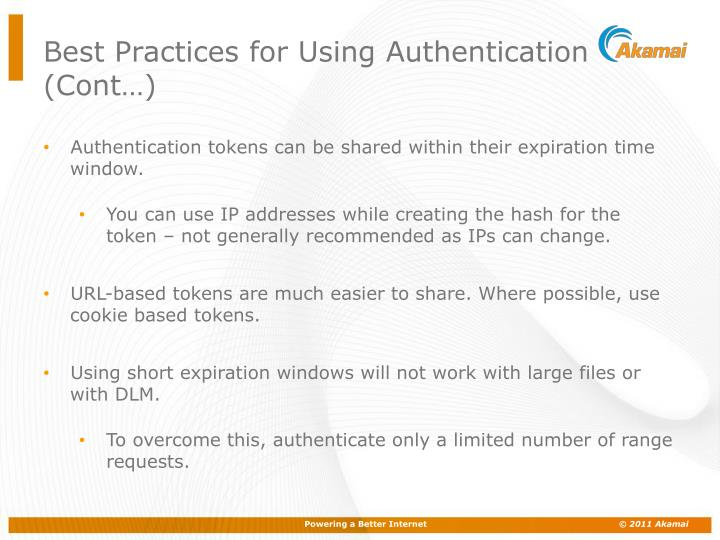 Best Practices for Using Authentication (Cont…)