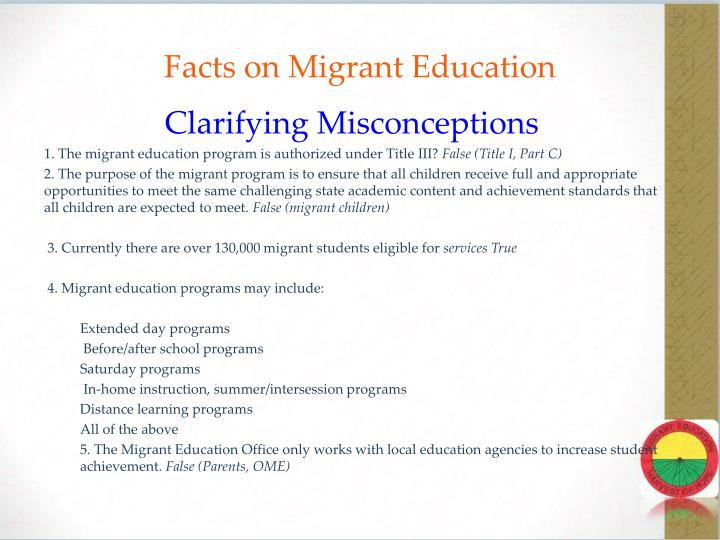 Facts on Migrant Education