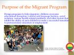 purpose of the migrant program1