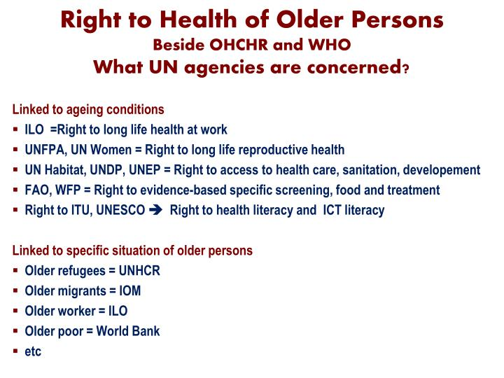 Right to Health of Older Persons