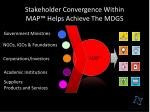 stakeholder convergence within map helps achieve the mdgs