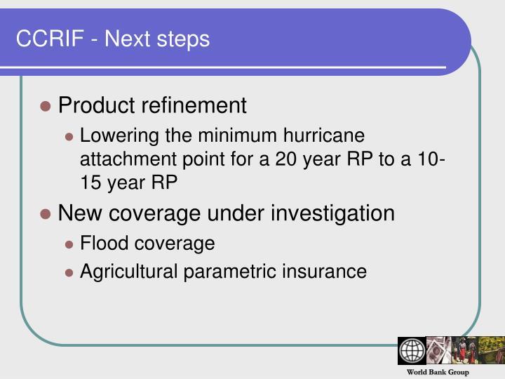 CCRIF - Next steps