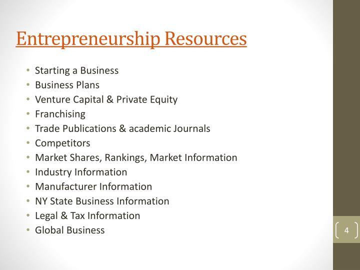 Entrepreneurship Resources