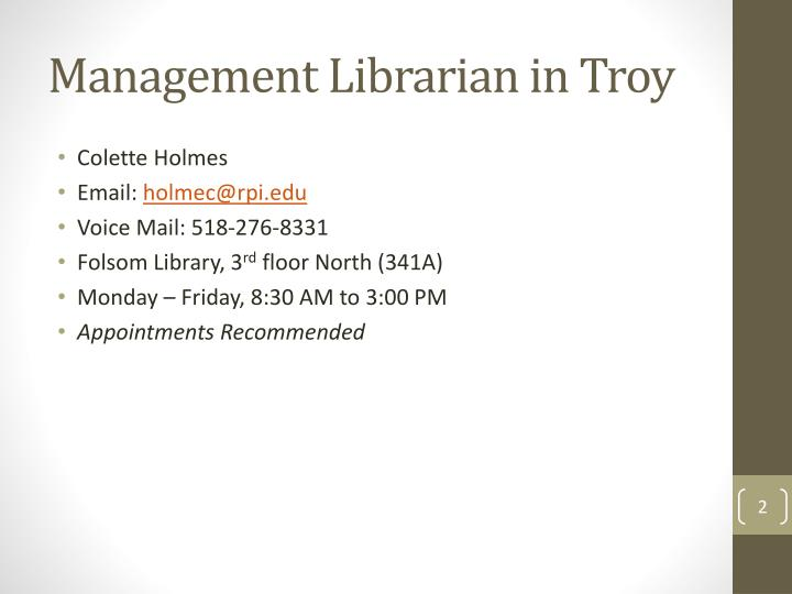 Management librarian in troy