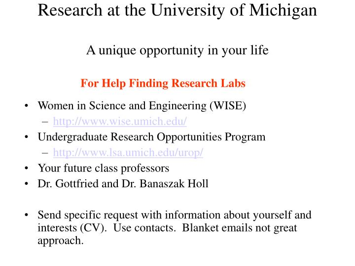 Research at the University of Michigan