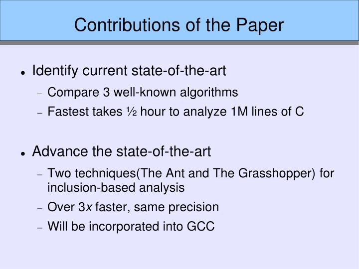 Contributions of the Paper