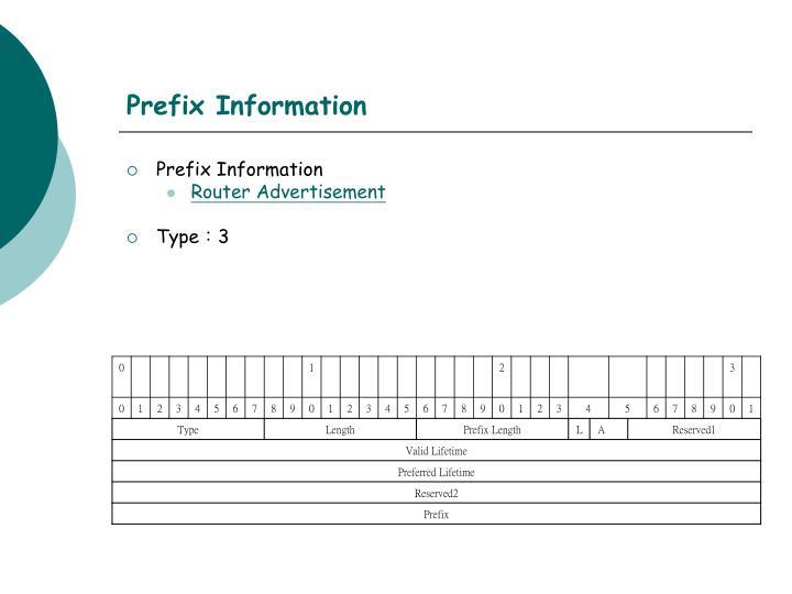 Prefix Information