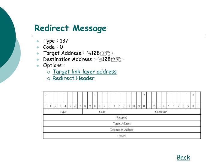 Redirect Message