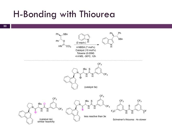H-Bonding with Thiourea