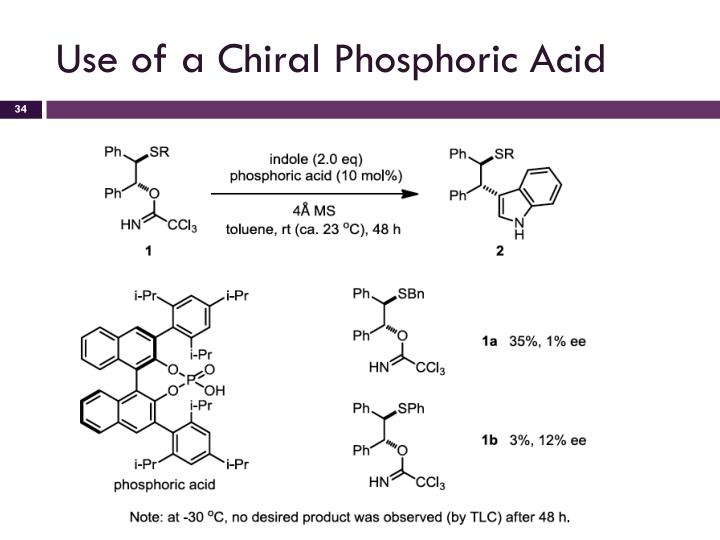 Use of a Chiral Phosphoric Acid