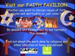 visit our faith pavilion