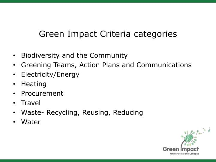 Green Impact Criteria categories