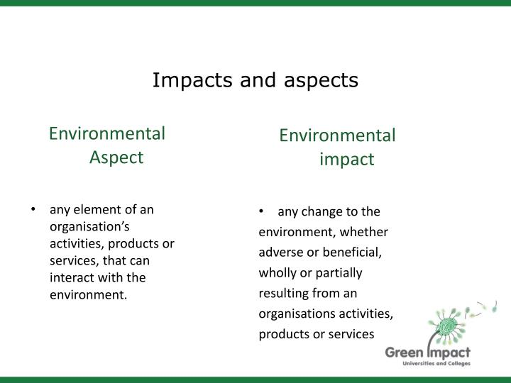 Impacts and aspects