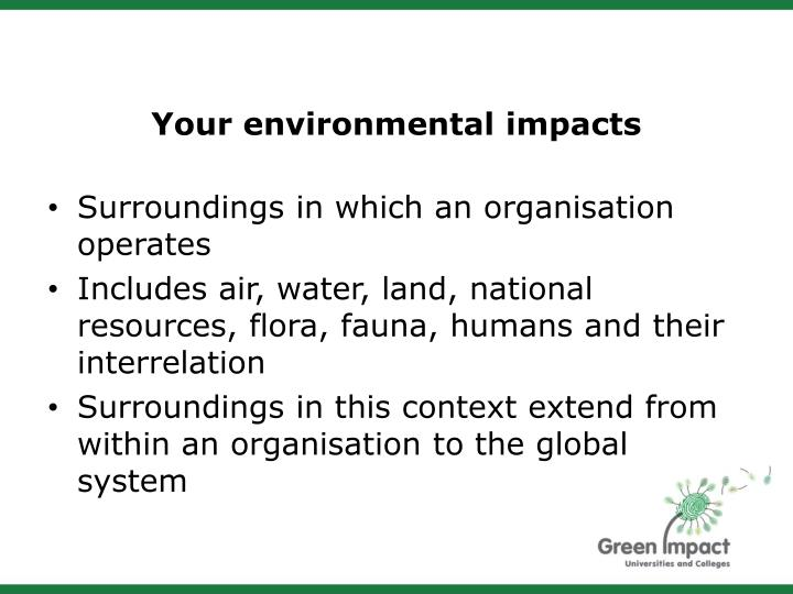 Your environmental impacts