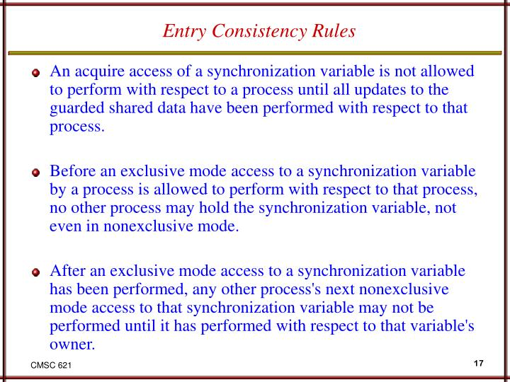 Entry Consistency Rules