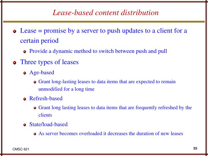 Lease-based content distribution