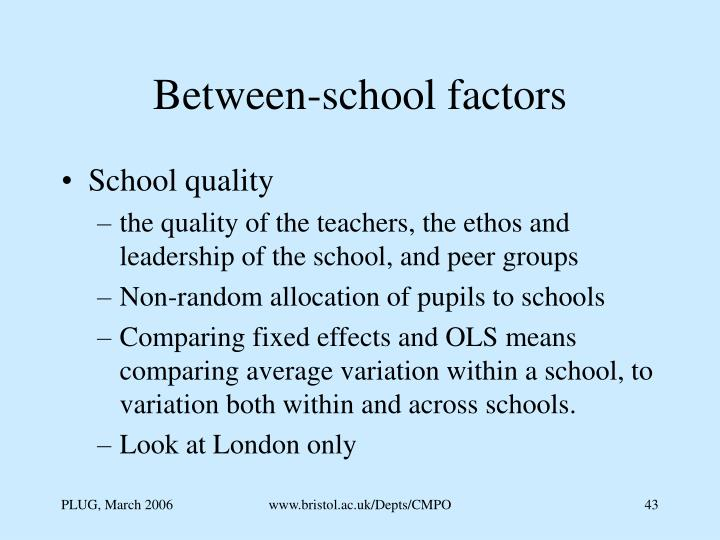 Between-school factors