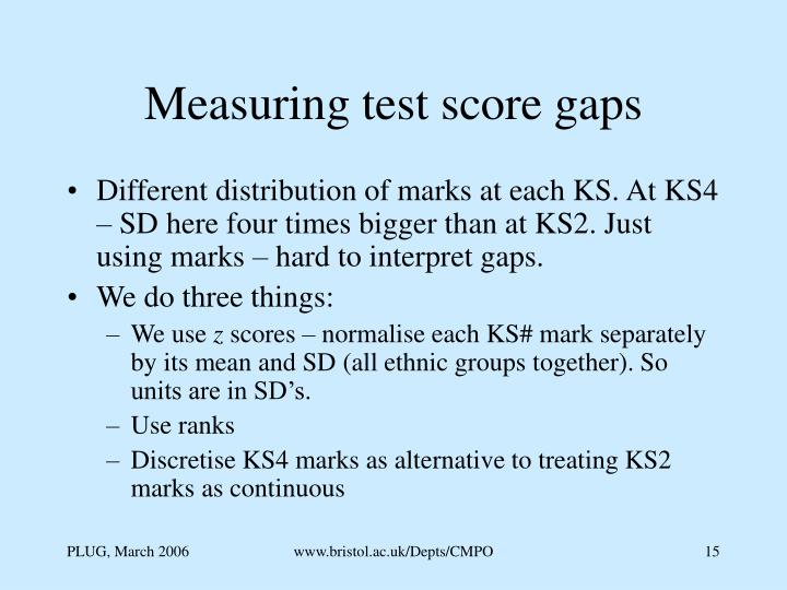 Measuring test score gaps