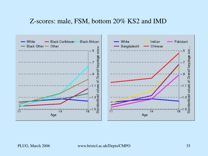 Z-scores: male, FSM, bottom 20% KS2 and IMD