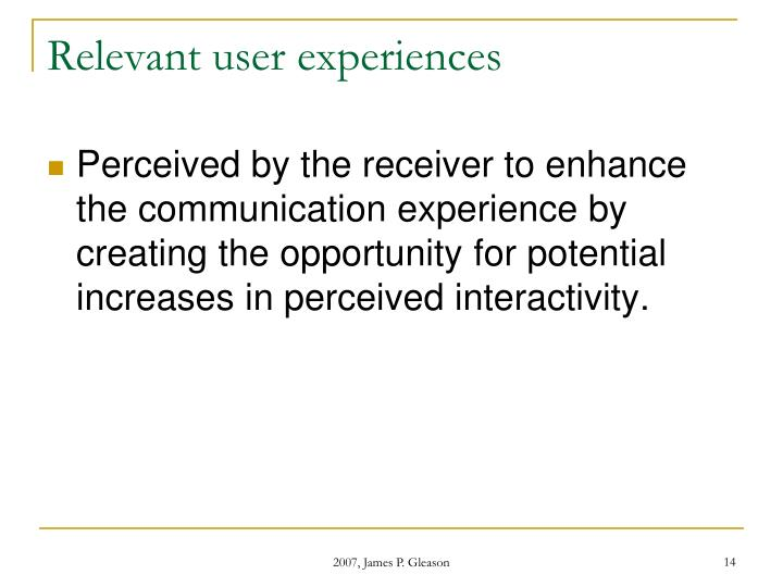 Relevant user experiences
