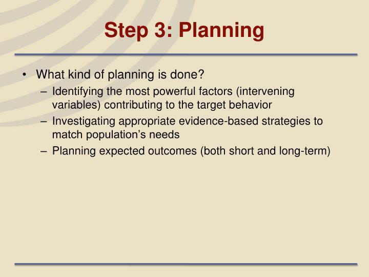 Step 3: Planning
