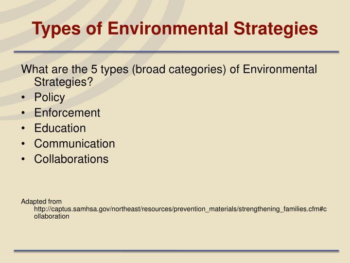 Types of Environmental Strategies