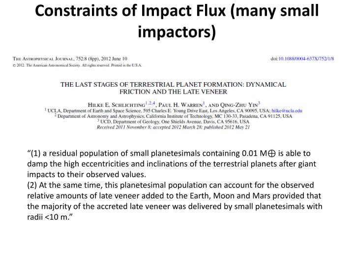 Constraints of Impact Flux (many