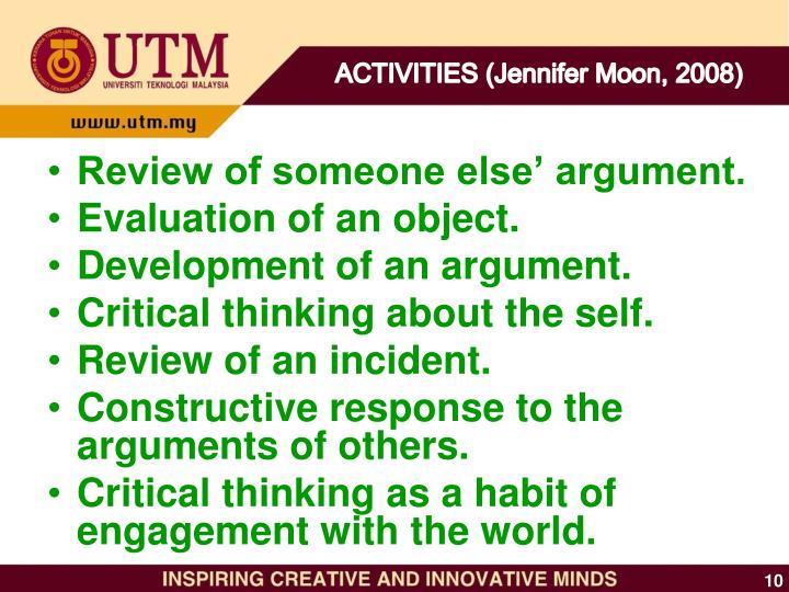ACTIVITIES (Jennifer Moon, 2008)