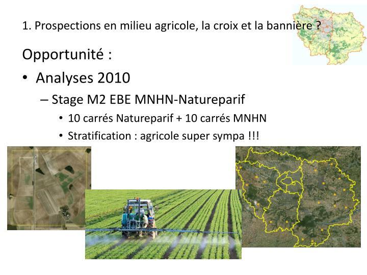 1. Prospections en milieu agricole, la croix et la bannière ?