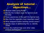 analysis of tutorial objectives