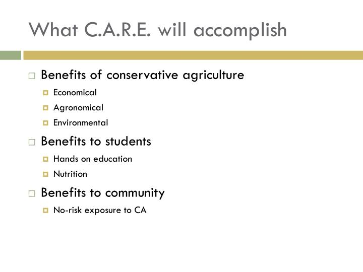 What C.A.R.E. will accomplish