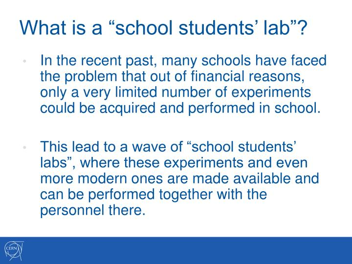 "What is a ""school students' lab""?"