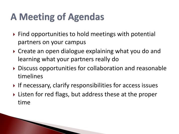 A Meeting of Agendas