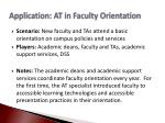 application at in faculty orientation