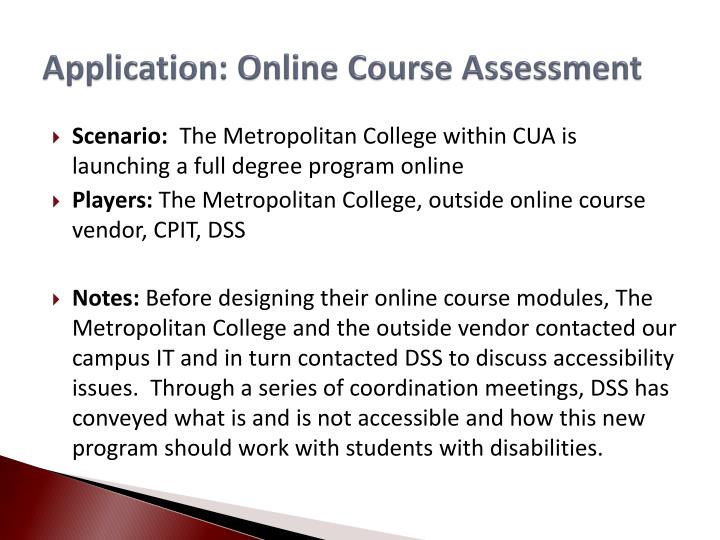 Application: Online Course Assessment