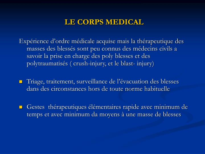 LE CORPS MEDICAL