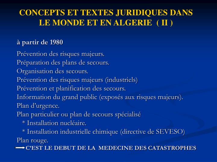 CONCEPTS ET TEXTES JURIDIQUES DANS     LE MONDE ET EN ALGERIE ( II )