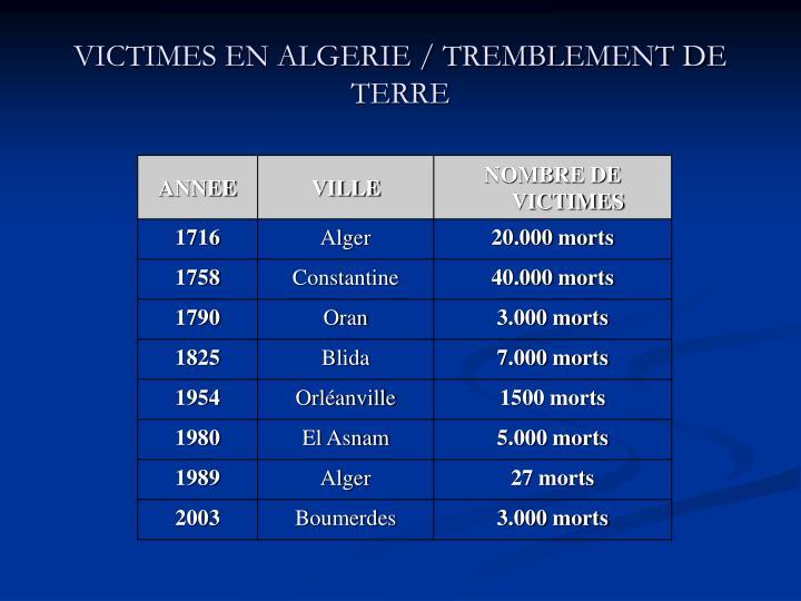 VICTIMES EN ALGERIE / TREMBLEMENT DE TERRE
