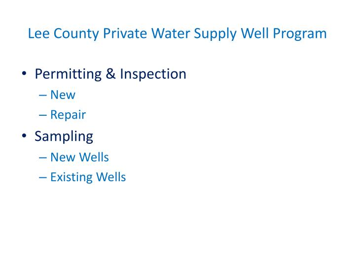 Lee County Private Water Supply Well Program