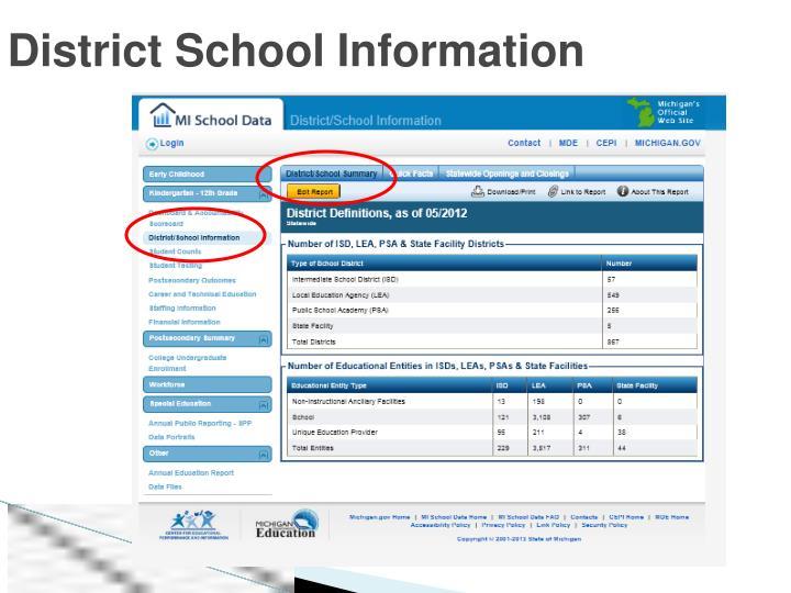District School Information
